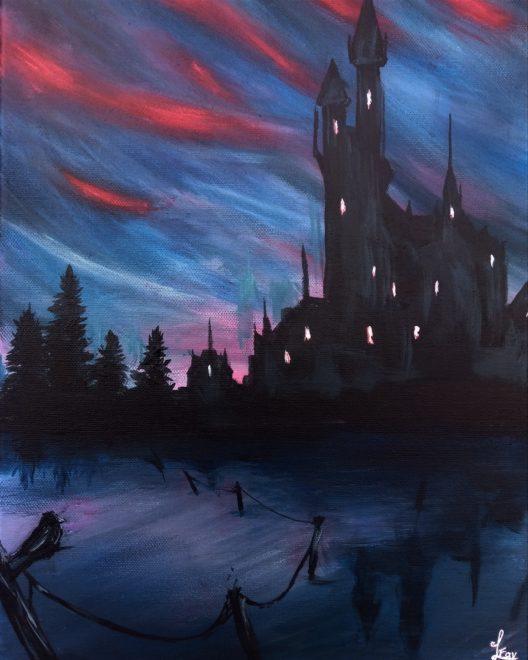 Castle under bloody sky